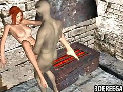 3D redhead fucked by a goblin