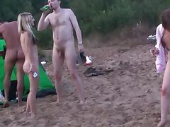 Sexy chicks are banging on the sand