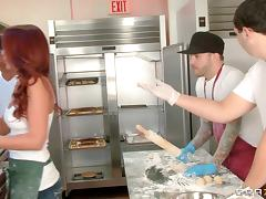 Pretty Redhead With Big Tits Enjoying A Missionary Style Fuck In A Restaurant Kitchen