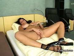 Busty Brunette Gets Three Huge Cocks For A Hardcore Fuck