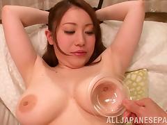 Hot milf with big tits Akane Mizusaki enjoys toy insertion and tits squeezing