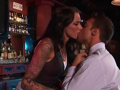 Tattooed brunette enjoys some ardent banging in a bar