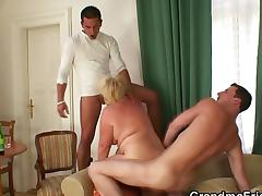 Drunk old bitch is picked up by two dudes