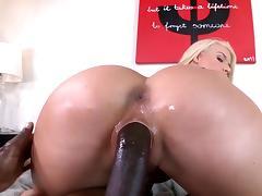 Gorgeous cougar takes on a big black tool